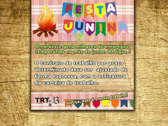 Campanha usa as festas juninas para  falar de trabalho por tempo determinado