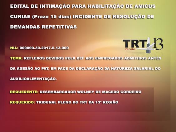 TRT publica Edital de Intimação para  habilitação de Amicus Curiae