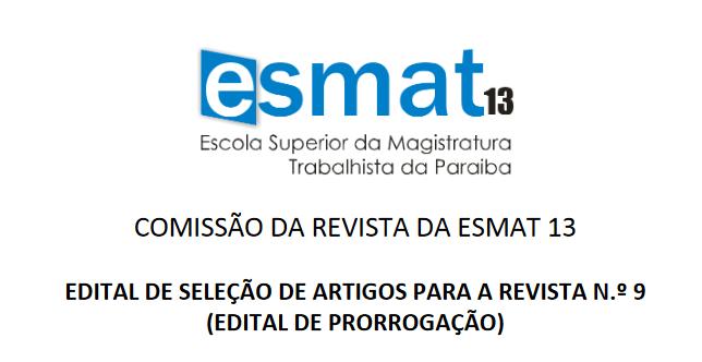 Artigos para a Revista da Esmat devem ser enviados até 3 de agosto